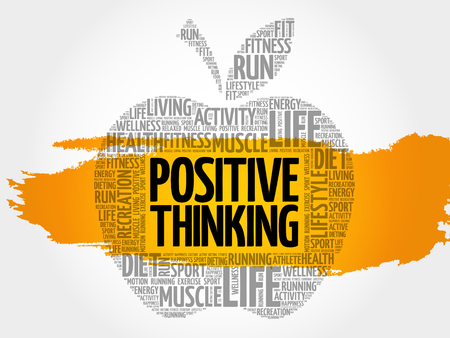 Positive thinking apple word cloud, health concept Ilustrace