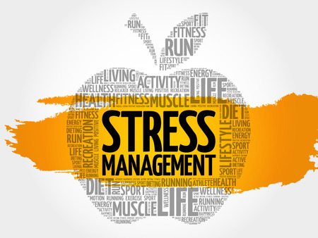 Stress Management apple word cloud, health concept Illustration