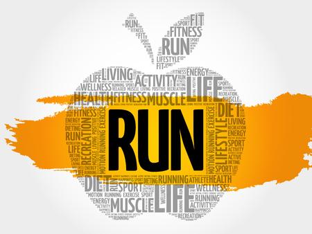 endurance run: RUN apple word cloud, health concept