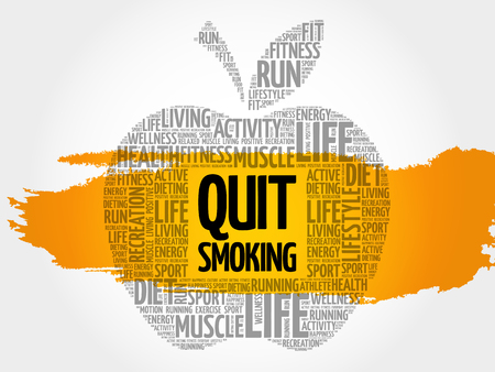 Quit Smoking apple word cloud, health concept Illustration