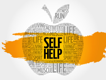 Self Help apple word cloud, health concept Illustration