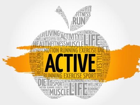 ACTIVE apple word cloud, health concept Illustration