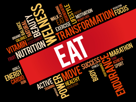 EAT word cloud, fitness, sport, health concept Illustration