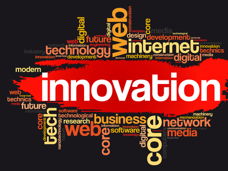 Innovation word cloud, technology business concept on black background.