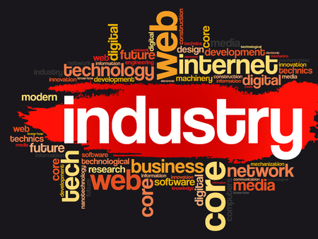 Industry word cloud, technology business concept on black  background.