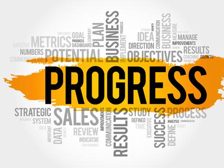 common goal: Progress word cloud collage Illustration