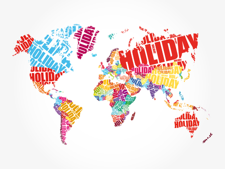 HOLIDAY word in shape of World Map Typography, words cloud travel concept background