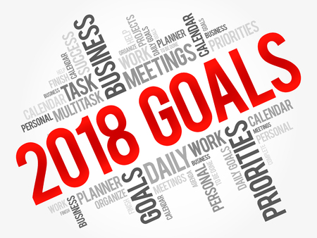 2018 Goals word cloud business concept background