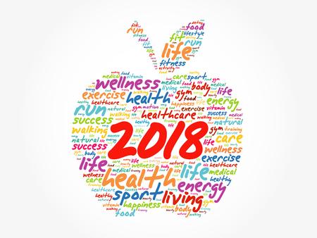 2018 alma szó felhő kollázs, egészségügyi koncepció háttérben