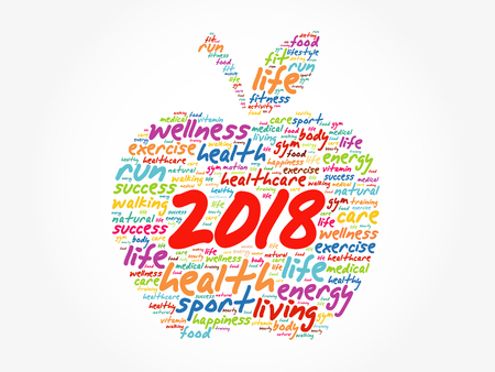 2018 apple word cloud collage, health concept background Çizim