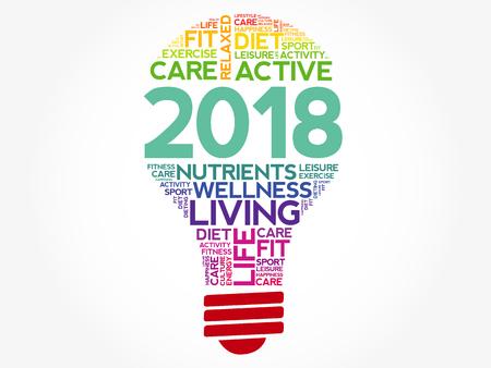 2018 健康目標電球単語の雲、健康概念を背景