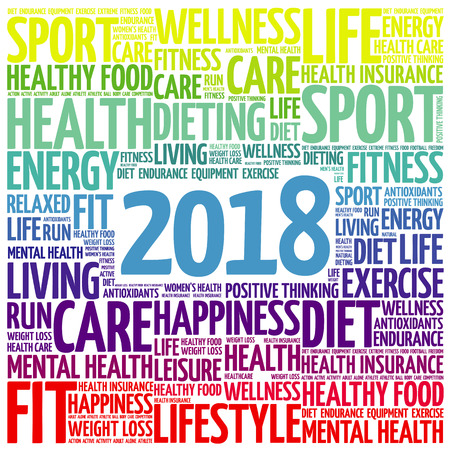 2018 sport word cloud collage, health concept background Illustration