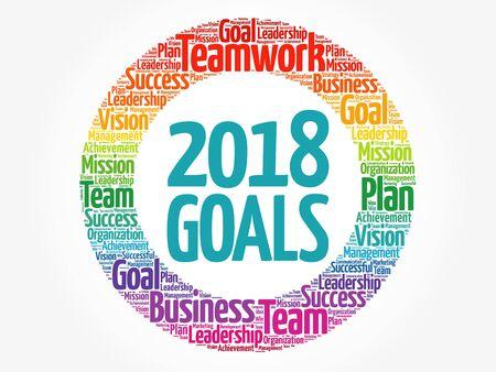 Colagem da nuvem da palavra dos objetivos 2018, fundo do conceito do negócio