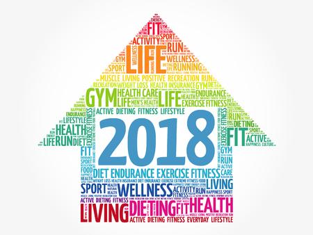 2018 Goals arrow, health word cloud, health arrow concept