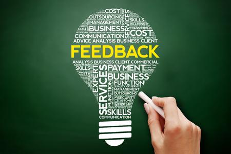 keyword research: Feedback bulb word cloud collage, business concept on blackboard