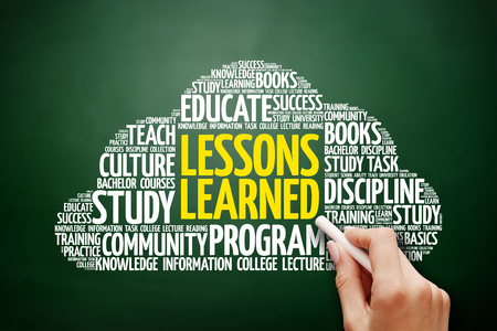 Lessons Learned word cloud, education concept on blackboard