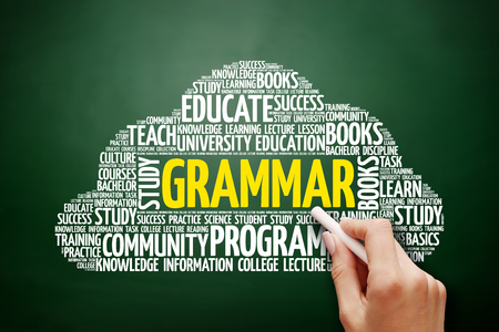 verb: Grammar word cloud, education concept on blackboard