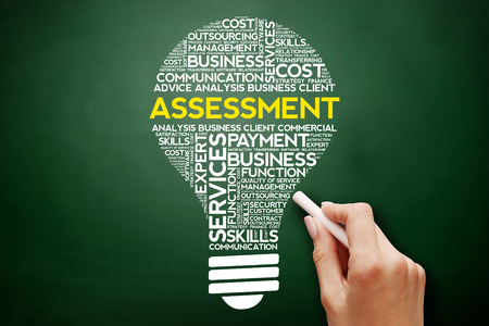 Assessment bulb word cloud collage, business concept on blackboard Stock Photo