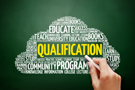 Qualification word cloud, education concept on blackboard