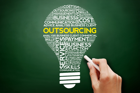 Outsourcing bulb word cloud collage, business concept on blackboard