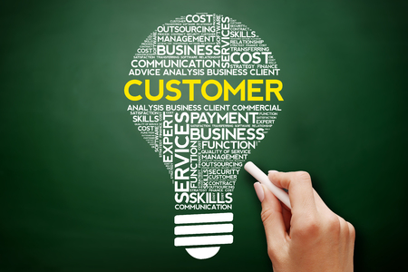 Customer bulb word cloud collage, business concept on blackboard Stock Photo
