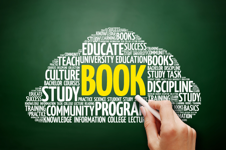 BOOK word cloud, education concept on blackboard Stock Photo