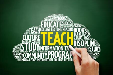 indoctrination: TEACH word cloud, education concept on blackboard