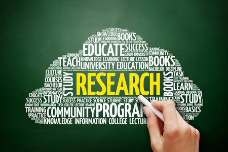 Research word cloud, education concept on blackboard Stock Photo