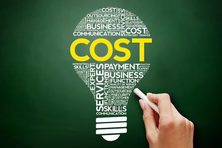 Cost bulb word cloud collage, business concept on blackboard