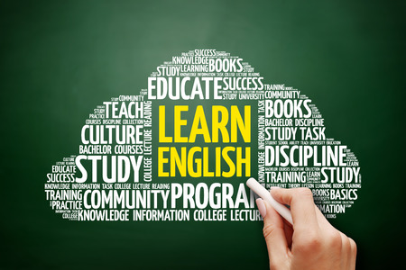 Learn English word cloud, education concept on blackboard