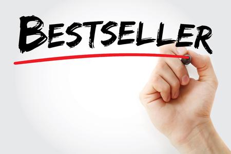 Escritura de la mano Bestseller con marcador, fondo del concepto Foto de archivo - 88297556