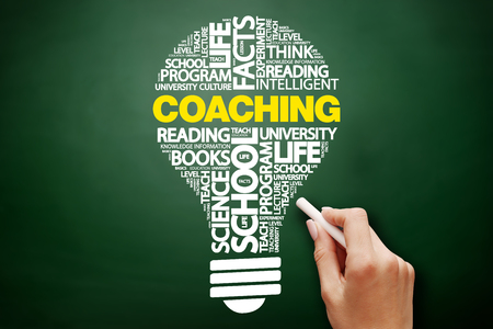 COACHING bulb word cloud collage, education concept on blackboard