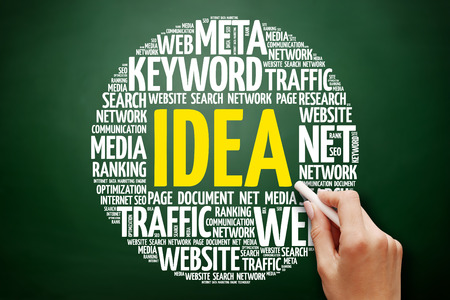 IDEA word cloud collage, business concept on blackboard Stock Photo
