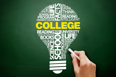 keyword research: COLLEGE bulb word cloud collage, education concept on blackboard