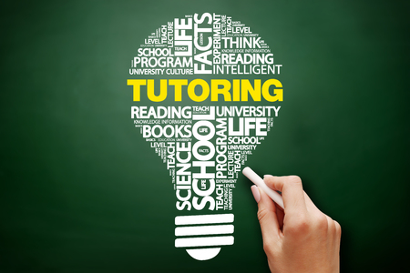 TUTORING bulb word cloud collage, education concept on blackboard Stock Photo