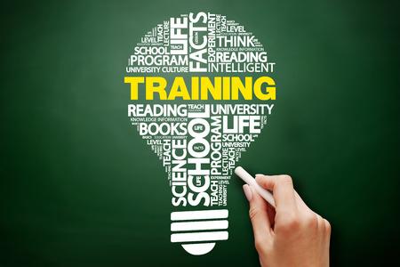 TRAINING bulb word cloud collage, education concept on blackboard Banco de Imagens