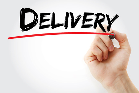Hand writing Delivery with marker, concept background