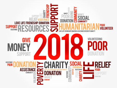 2018 help word cloud collage, concept background
