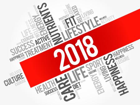 2018 Wortwolkencollage, Gesundheitskonzepthintergrund Vektorgrafik