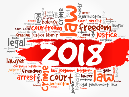 2018 Law word cloud collage, business concept background