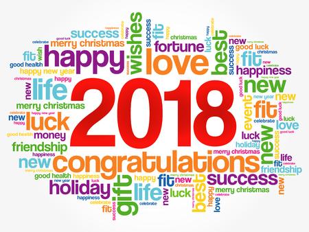 2018 jaar groet woord wolk collage, gelukkig Nieuwjaar viering wenskaart Vector Illustratie