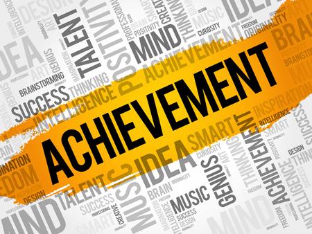 Achievement word cloud collage, business concept background Illustration