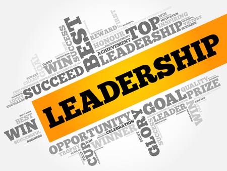 LEADERSHIP word cloud collage, business concept background Illustration