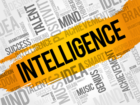 Intelligence word cloud collage, creative business concept background