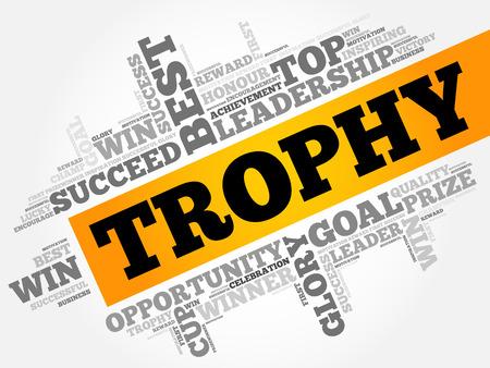 triumphant: Trophy word cloud collage, business concept background