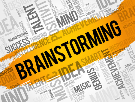 Brainstorming word cloud collage, creative business concept background Illustration