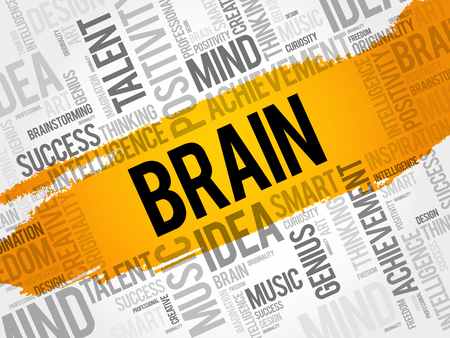 BRAIN word cloud collage, creative business concept background Illustration