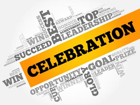 Celebration word cloud, business concept