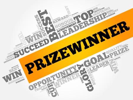 Prizewinner word cloud, business concept Illustration