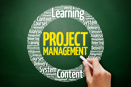 Project Management word cloud collage, business concept on blackboard